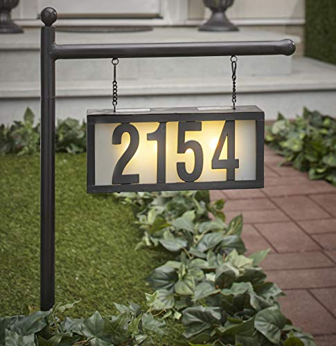 The Lakeside Collection Solar Address Stake with Backlit House Numbers - Hanging Home Address Plaque