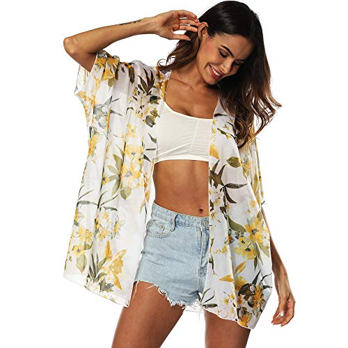 UMIPUBO Camisolas Playa Mujer 3/4 Sleeve Boho Ropa de Baño Transparente Camisolas Pareos Florales Bikini Raje de Baño Cover Up