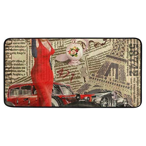 Bardic anti-slip deurmat Vintage auto en rode jurk dame deurmat machine wasbare slaapkamer mat voor het leven dineren kamer slaapkamer keuken,50.8x99cm