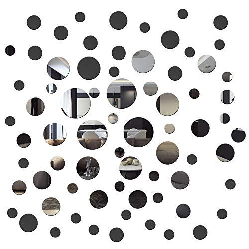 72 piezas acrílico redondo espejo DIY pegatinas de pared removibles acrílico espejo pegatinas de pared para sala de estar, comedor, pasillo decoración de la casa, adhesivo adhesivo de pared decoración