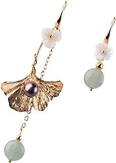 Toyvian 1 Pair Retro Dangle Earrings Flower Beaded Drop Earrings Chinese Earrings Jewelry for Womens Wedding Bride Bridesm...