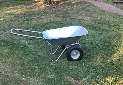 Estate to Garden 2 Wheel 150KG Wheelbarrow Lightweight Garden Cart Transport Galvanised Tray 80L