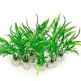 NEYOANN Paquete de 10 plantas artificiales para acuario, 10 cm de altura, decoración para el hogar, plástico, color verde