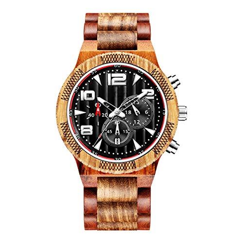 Reloj de Madera Maciza para Hombre, Reloj de Madera, cronógrafo de Cuarzo, Fecha, Relojes de Pulsera, Reloj de 6 Pines, Esfera multifunción, Reloj masculino1