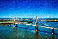 ブリッジチャールストンUSAジグソーパズル大人用1000ピース木製トラベルギフトお土産-Pt-00084