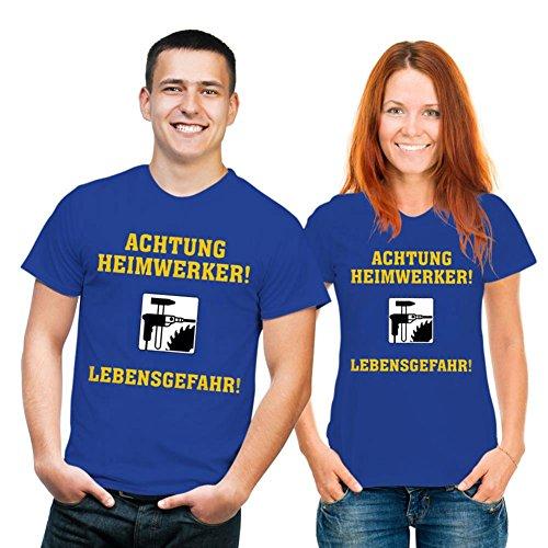 RAHMENLOS witziges Sprüche Tshirt Achtung Heimwerker! Lebensgefahr! royal blau