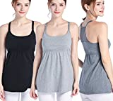 SUIEK Women's Nursing Top Tank Cami Maternity Shirt Sleep Bra for Pregnancy (Medium, Black+Charcoal+Grey(3pcs))