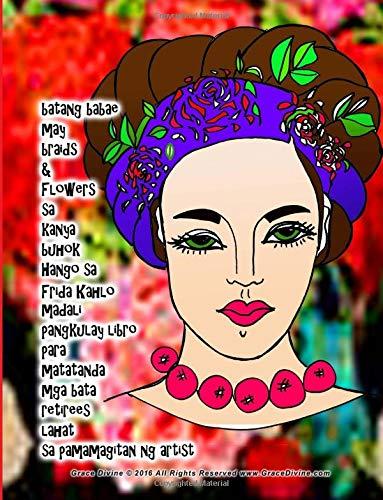 batang babae may braids & Flowers sa kanya buhok Hango sa Frida Kahlo madali pangkulay libro para matatanda mga bata retirees lahat sa pamamagitan ng artist Grace Divine