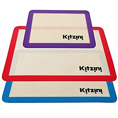 Silicone Baking Mat Set of 3 - Nonstick - Two Half Sheet Mats (16.5  x 11 5/8) & 1 Quarter Sheet Liner (11.5  x 8.5 ). Professional Grade and BPA Free - Perfect for Cookies Macaroons and Pastry