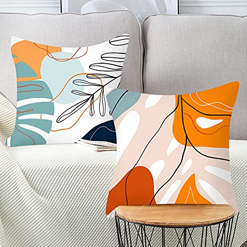 Dekorative Kissenhülle Weich Kissenbezug Sofa Taille Werfen Hause Dekorative Plüsch Hause Kunst Mode 45x 45 cm (Multicolor F-Pflanze, 45*45CM)