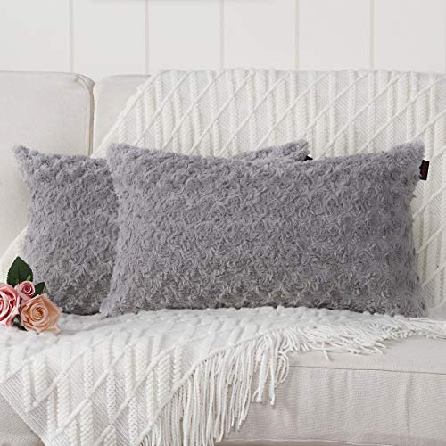 Mandioo Grey Faux Fur Cushion Covers 12x20 Inch 3D Flower Pattern Fuzzy Cozy Soft Decorative Throw Pillowcases for Couch Sofa Bedroom Car 30cmx50cm,Pack of 2