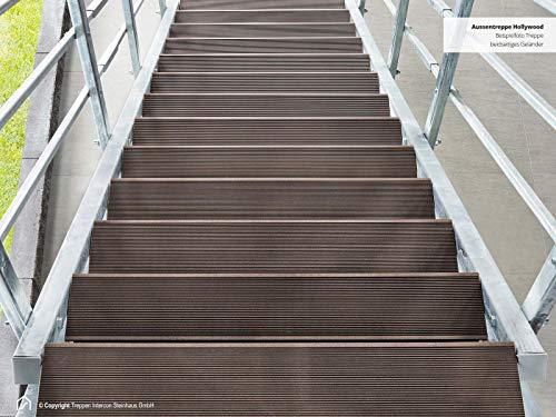 Intercon® Außentreppe Hollywood mit Streckgitter- oder WPC Stufen, feuerverzinkte Stahltreppe,11 Stufen (2 Geländer, WPC Braun)