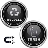 Recycle and Trash Logo Symbol - Elegant Golden Look for Trash Cans, Containers, and Walls - Laminated Vinyl Decal (XSmall, Silver - Magnetic)