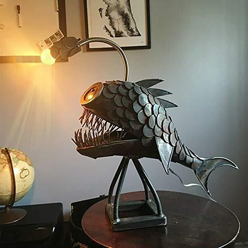Creative Fisherman Art - Lámpara de tiburón hecha a mano con USB, lámpara de pescador, lámpara de mesa LED única para oficina, dormitorio, sala de estar (L)