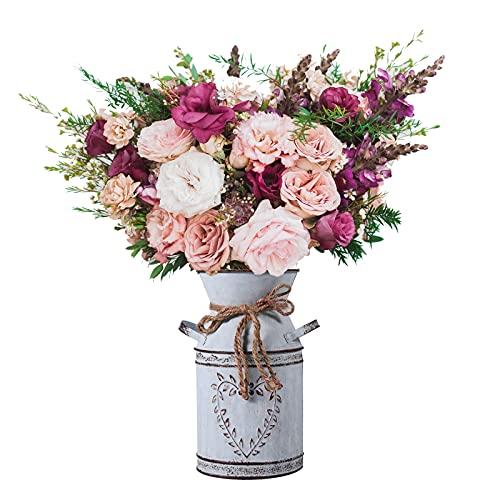 FORMIZON Jarrón de Flores de Metal, Jarrón Decorativo Rústico, Shabby Chic Jarrón Vintage Galvanizado, Leche Lata Galvanizada Cubo de Flores para Hogar Decoración, Granja, Arreglos Florales