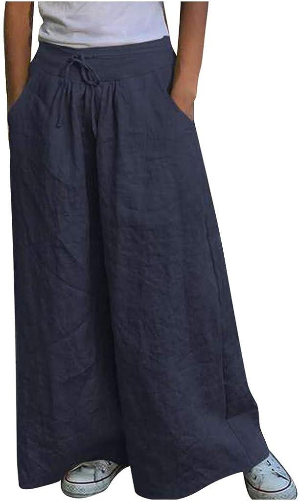 DEATU Wide Leg Pants Women Cotton Linen Ankle-Length Pants with Pockets Elastic Waist Comfy Loose Lounge Pants