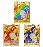 3 tarjetas de Pokemon raras coleccionables Metal Golden Cards (3 Charizard VMAX)
