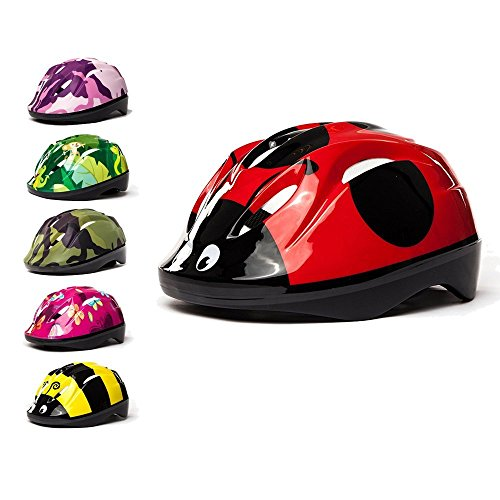 3StyleScooters Casque de Vélo pour Enfants SafetyMAX® - 6 Magnifiques Modèles - Parfait pour Le Vélo et la Trottinette - Serre-tête de Taille Réglable - Enfants Âgés de 4 à 11 Ans (Coccinelle Roug)