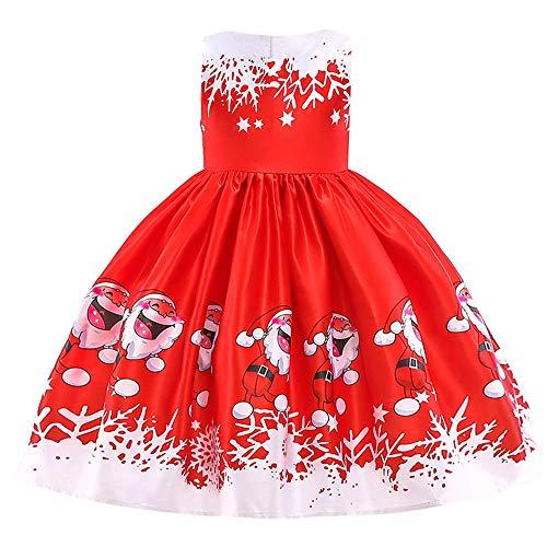 Riou Weihnachten Baby Kleidung Set Kinder Pullover Pyjama Outfits Set Familie Kleinkind Kinder Baby Mädchen Santa Print Prinzessin Kleid Partykleid Weihnachten (120, Rot C)