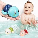 Kinder Badespielzeug Baby 3er Set in 3 Farben. Schildkröten als Babyspielzeug ab 6 Monate geeignet für Baby Planschbecken , Wasserspielzeug Pool oder Badewannen Spielzeug Kinder Baby Spielzeug