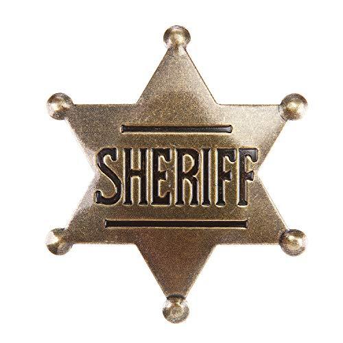 Sheriff Badge, Toy Sheriff Badge for Kids, Metal, Western Sheriff Badge, Deputy Sheriff Badge, Old West Prop, US-AKI-014 (Dark Bronze)
