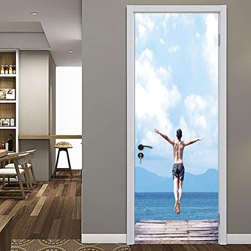 Adesivo de arte de mural de porta 3D Man by The Sea Decalques autoadesivos removíveis à prova d'água para decoração de casa 77 cm x 200 cm