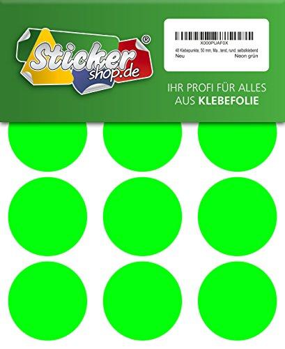 48 Klebepunkte, 50 mm, Markierungspunkte, Punkt, PVC, Vinyl, Folie, Neon, grün, leuchtend, rund, selbstklebend