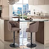 ALPHA HOME Swivel Bar Stool Adjustable Airlift Counter Height Bar Stool Kitchen Dining Cafe Hydraulic PU Leather Bar Chair with Padded Back and Chromed Metal Base, Brown, 2PCS