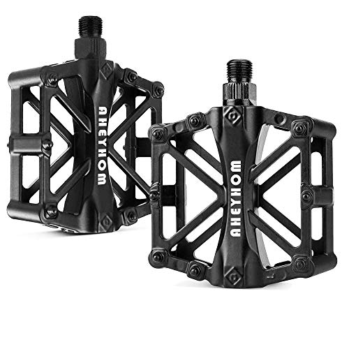 AHEYHOM Bike Pedals 9/16 MTB Mountain Bike Pedal Aluminium CNC Bike Platform Pedals Lightweight Off Road Cycling Bicycle Pedals for BMX Black