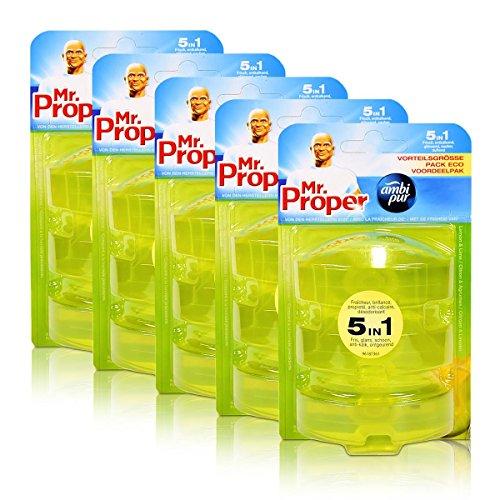 5x Mr.Proper Nachfüller Ambi Pur 5in1 Lemon & Lime WC-Stein flüssig, 3x55 ml