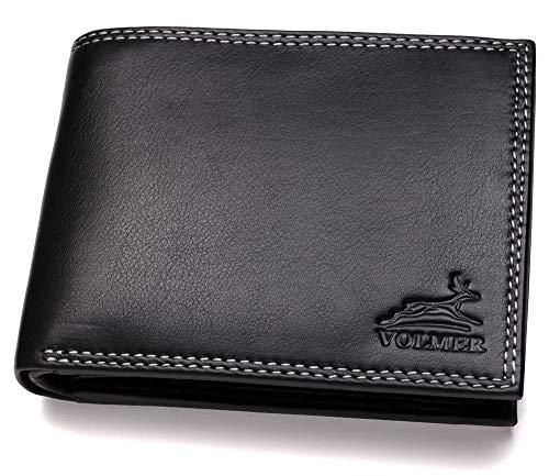 Fa.Volmer ® Stabile Schwarze Herren Geldbörse echt Leder Querformat mit RFID Schutz #First-Class