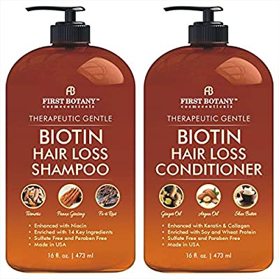 Hair Growth Shampoo Conditioner Set - An Anti Hair Loss Shampoo and Conditioner with 14 DHT blockers to fight Hair Loss For Men and Women, All Hair types, Sulfate Free - 2 x 16 fl oz