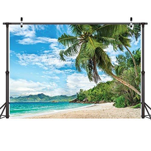LYWYGG 7x5FT Palmeras Summer Blue Ocean Telones De Fondo De Tela Vinilo Foto Fotografia Boda Playa Hawaiana Fotografico Antecedentes Props CP-8