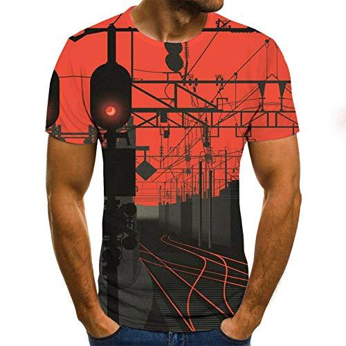 Camisetas 3D Hombre Centro ferroviario bajo el Resplandor Rojo Camiseta Hombre 3DT Camisa Manga Corta Cuello Redondo impresin Digital Casual Manga Corta-Color_120