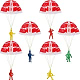 40 Pieces Mini Parachute Men Army Soldiers Plastic Warrior Figures Cool Parachute Toy Set for Christmas New Year Gifts Out Door Toys