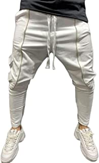 YYG Mens Drawstring Running Jogger Pants Elastic Waist Baggy-Pants Sweatpants Pants Trousers