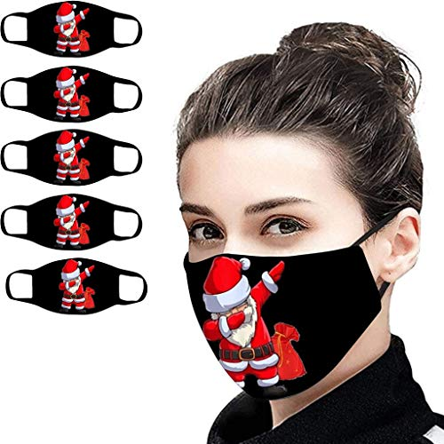 Unisex Face_Mask, Christmas Pattern Print Black Fabric Cloth Bandanas, Reusable Breathable Multi-Purpose Face Madks
