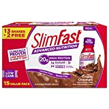 SlimFast Advanced Nutrition High Protein Meal Replacement Shake, Creamy Chocolate, 20g of Ready to Drink Protein, 11 Fl. Oz Bottle, 15 Count