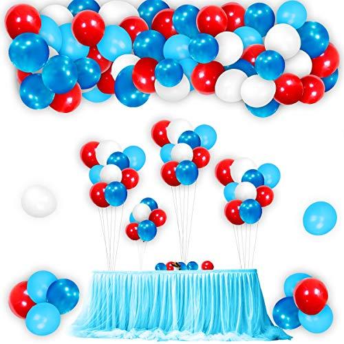 Colmanda Globos Azules Blancos Rojos, 113 Piezas Globos de Azul Claro Rojo Blanco Azul Conjunto de Arco de Globos, Látex Globos para Fiesta de Cumpleaños, Decoración de Fiesta Temática (B)