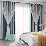 FlySheep Star Cutout Blackout Curtains 2 Panels for Kids Girls Bedroom - Double Layer of Fabric & Tulle Star Cut Out Sparkle Gradient Stripe Window Curtains, 2 in 1 (Blue Beige Stripes, 52x95 inches)