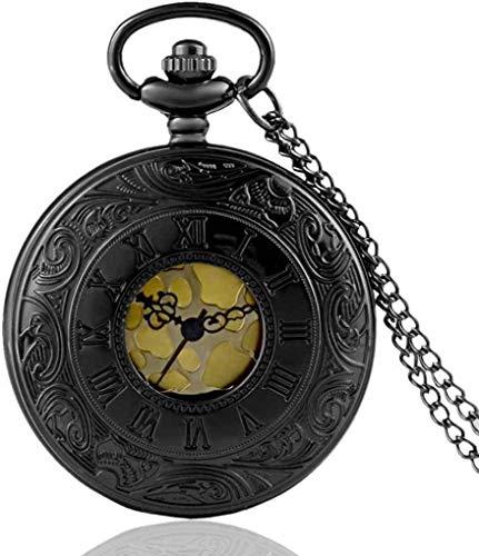 KUANDARGG Reloj de Bolsillo Vintage Charm Unisex Moda Número Romano Cuarzo Steampunk Reloj de Bolsillo Mujer Hombre Collar Colgante con Cadena Regalos, Black