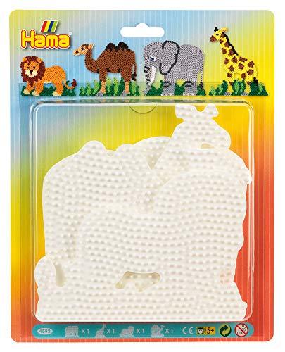 Hama Perlen 4582 Große Stiftplatten 4er Set für Midi Bügelperlen mit Durchmesser 5 mm, Motive Elefant, Giraffe, Löwe und Kamel in weiß, kreativer Bastelspaß für Groß und Klein