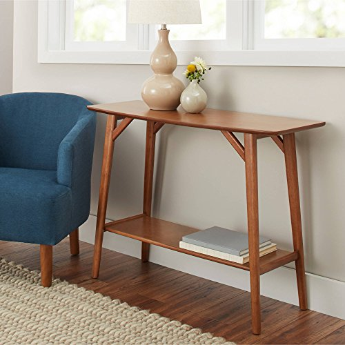 Better Homes & Gardens Reed Mid-Century Modern Console Table, Pecan