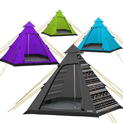 Summit Blue Hydrahalt - 4 Person Tipi Pyramid Outdoor Tent for Camping, Fesitvals & Holidays & Tigerbox Safety Matches