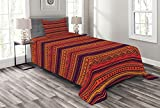 ABAKUHAUS Ethno Boho Tagesdecke Set, Abstrakte Ethno Doodle, Set mit Kissenbezügen Waschbar, für Einzelbetten 170 x 220 cm, Orange Rot