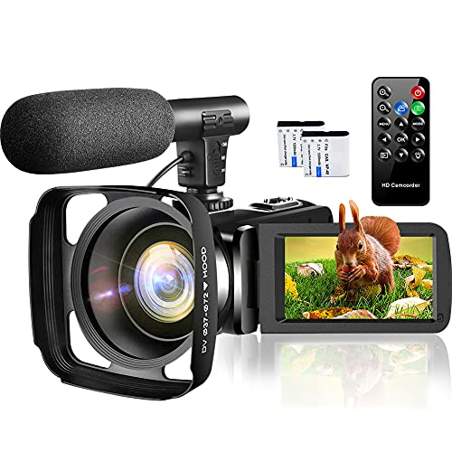 Video Camera Camcorder,1080P Full HD 30FPS 24MP Vlogging Camera for YouTube IR Night Vision Webcam 16X Zoom Digital Camera with Microphone,Remote Control,2 Batteries,Lens Hood