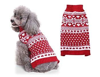Tineer Pet Xmas Pull-Overs - Pull Chiot Sweater à Capuche Tricots Halloween Cartoon Chaud Manteau vêtements de Noël pour Petits Chiens Moyens Chats Lapins (L, Motif de Coeur)
