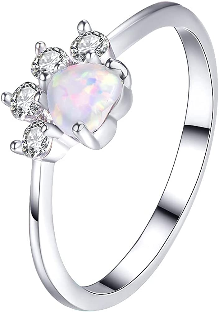 Lovely CZ Pet Paw Print Stacking Rings Fashion Love Heart Opal Puppy Dog Cat Statement Ring Crystal Rhinestone Animal Promise Eterntiy Engagement Ring Tail Finger Band Dainty Jewelry Gifts for Women Girls