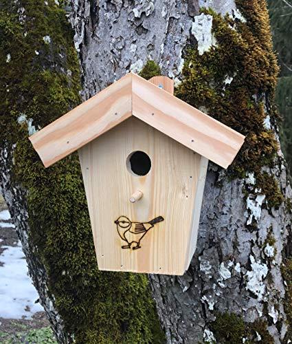 Nido N8 con tetto in legno di larice per specie di cinciolo e code rosse, casetta per uccelli per piccoli specie di cinciolo con foro di ingresso da 28 mm