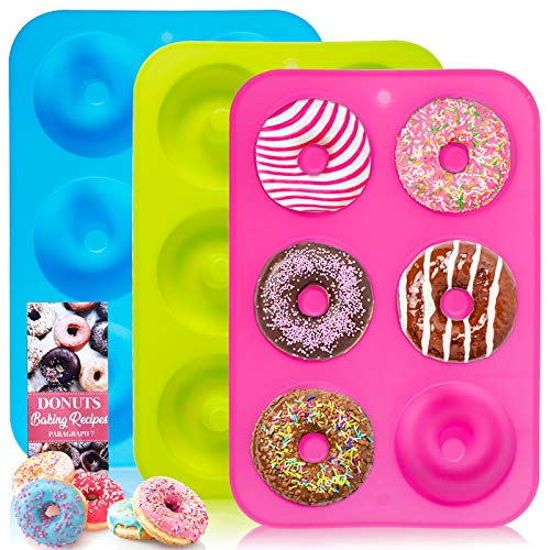 Donut Pan, 3pcs 100% NonStick Silicone Donut Mold for Baking, BPA Free Mold Sheet Tray, Easy Clean and Dishwasher Microwave Safe, 10x7 Inches